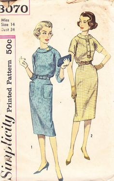 1960s Sheath Dress Vintage Pattern, Simplicity 3070, Mad Men, Roll Collar, Patch Pocket, Short or 3/4 Length Sleeves, Tight, Wiggle Skirt