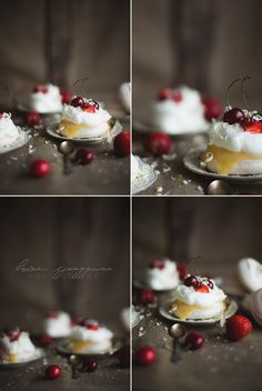 Mini Pavlova with Lemon Curd and Red Berries Recipe by Helena Ljunggren