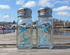 Nautical Theme Teal Starfish - Hand Painted Salt & Pepper Shakers 'New England Decor/Beach Cottage/Nautical Kitchen/Beach Gift Basket'