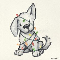 weihnachten illustration cute puppy dog wrapped in Christmas tree lights, hand painted and drawn watercolor Christmas illustration, funny naughty puppy Christmas card design - Buy this stock illustration and explore similar illustrations at Adobe Stock Cartoon Dog Drawing, Cute Dog Drawing, Cute Animal Drawings, Animal Sketches, Cute Drawings, Puppy Drawings, Illustration Cartoon, Illustration Simple, Illustrations