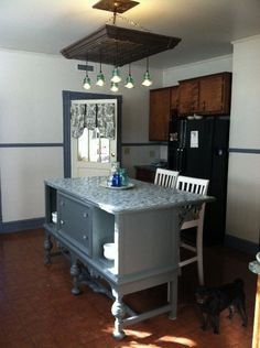 Repurposed Buffet Into A Kitchen Island