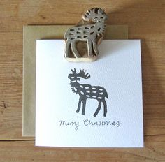 Christmas card: Hand block print in pewter. Stephanie Cole DESIGN