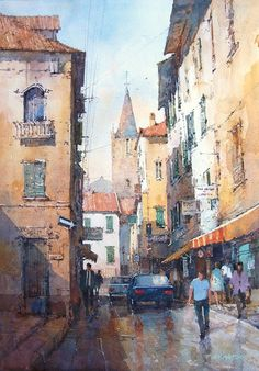 "Ian Ramsay:  Deep in the Old City, Rome. 19"" X 13""."