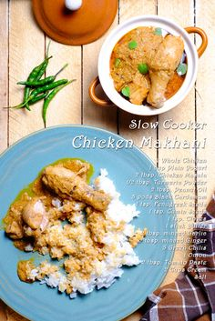 Slow Cooker Chicken Makhani A slow cooker adaptation of the classic Indian butter chicken. Chicken Makhani, Chicken Masala, Indian Butter Chicken, Marinated Chicken, Gluten Free Cooking, Slow Cooker Chicken, Sweet And Salty, Slow Cooker Recipes, Meals