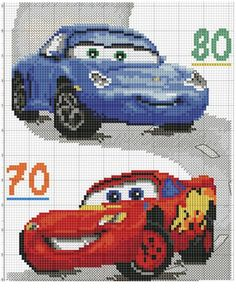 Gallery.ru / Фото #87 - νοστρα - ergoxeiro Pixel Crochet Blanket, Tapestry Crochet, Cross Stitch Baby, Cross Stitch Charts, Disney Cars, Cross Stitching, Cross Stitch Embroidery, Bordado Tipo Chicken Scratch, Stitch Character