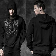 Alternative Black Studded Skeleton Emo Punk Hoodies Clothing Men Women SKU-11401414
