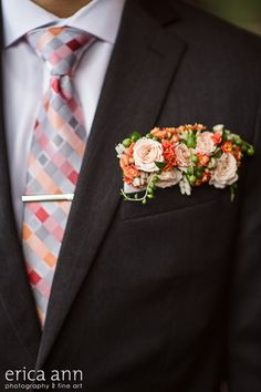 floral boutonniere pocket square botanical style