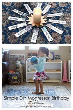 Ideas and free printables for a simple DIY Montessori celebration of life ceremony (Montessori birthday) for young children - Living Montessori Now #Montessori #Montessoribirthday #celebrationoflife #homeschool