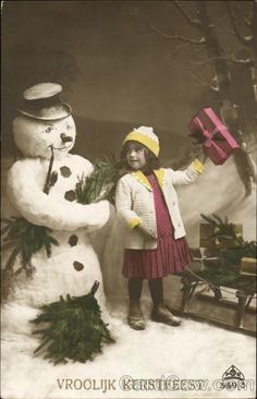 Tinted Girl with Snowman Snowmen