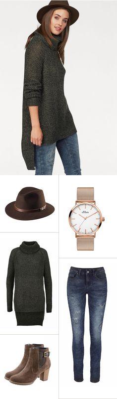 Perfekt aufeinander abgestimmt ist dieses schicke Outfit von Laura Scott, J.Jayz und Tom Tailor. Besonderes Highlight: Der originelle Hut von J.Jayz.
