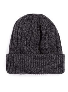 CHARCOAL MIXED YARN CABLE BEANIE
