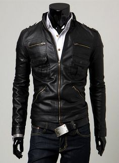 Black Leather Jacket Men Leather Jacket Mens Leather by Wowcosplay, $86.00