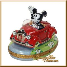 Buy this exceptional Limoges Mickey Mouse in Red Car Disney Box by Artoria Limgoes, made in Limoges, France. Shop the largest selection of Disney Limoges boxes as well as Limoges boxes in every style for your collection or the perfect gift. Holly Hobbie, Disney Birthday, Pretty Box, Tiny Treasures, Jewel Box, Disney Cars, Little Boxes, Pill Boxes, Disney Magic