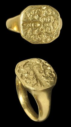 Elizabethan Gold Armorial Ring, 16th century A.D.