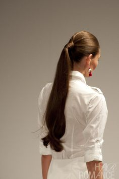 Long straight brunette wrapped ponytail hairstyle