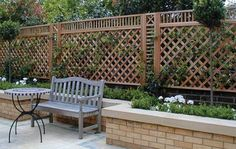 We could do something like this (shorter) if the shrubs in front ever fully die. * Contemporary Trellis Panels - Wooden Fence Trellis Panels - Essex UK, The Garden Trellis Company