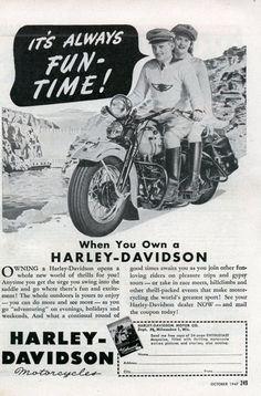 Harley Davidson motorcycle ad, 1947