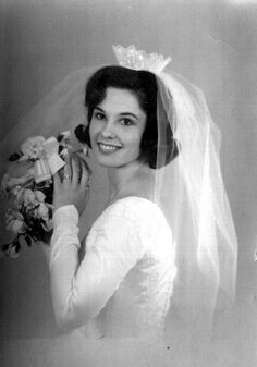 """Mary Susan gets Mary Susan gets married. My mom's wedding photo circa 1965. 18 years old... 18 inch waist."""