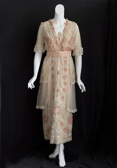 Hand-embroidered lace tea dress, c.1912, from the Vintage textile archives.