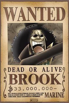 One Piece: Brook Wanted Poster Anime One Piece, One Piece 1, One Piece Luffy, Wanted One Piece, Me Me Me Anime, Anime Love, One Piece Bounties, Manga Anime, One Piece Seasons