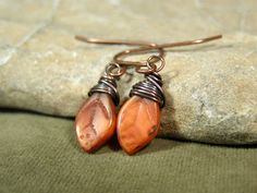 Small Petite Leaf Earrings  Wire Wrapped by StoneWearDesigns