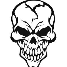 Brand New Skull 348 Sticker and in stock. Self-adhesive, die cut, pre-masked and ready to apply to any smooth surface. High glossy finish, cut from premium 3 mill vinyl, with a life span of 5 - 7 years. Face Stencils, Skull Stencil, Tattoo Stencils, Skull Artwork, Human Head, Dark Fantasy Art, Skull Tattoos, Eye Art, Car Stickers