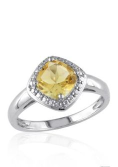 Belk  Co.  Sterling Silver Citrine and Diamond Ring
