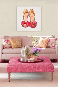 pink statement furniture. Oliver Gal My Sexy Shoes canvas wall art.