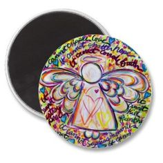 Spring Hearts Cancer Angel Magnet Round