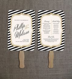 Classic Striped White, Gold, and Black Wedding Program Fan - Digital File to Print - JPG or PDF to print - Customizable in any color