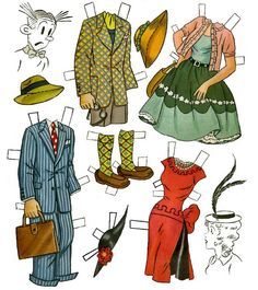 Cut Out Dolls. Blondie and Dagwood outfits. blondie had the cutest hats.  B.