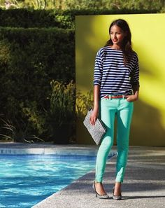 navy and white striped shirt with minty jeans