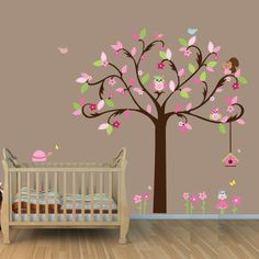 Repositionable Owl Tree Wall Decals, Tree Wall Stickers with Owls and Birds, Girl Tree (Tickled Pink - brown flourish tree). $84.99, via Etsy.