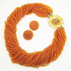 Pumpkin Orange Torsade 32 Strands Rhinestone by LadyandLibrarian @lauraorcutt
