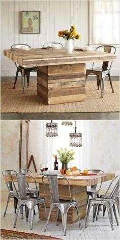 Table à manger en palettes monopied  http://www.homelisty.com/table-en-palette/