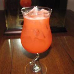Pierced Fuzzy Navel - Peach Schnapps, Vodka, OJ & Grenadine. Yum!
