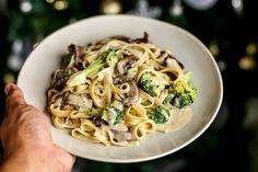 Creamy Beef Broccoli and Portobello Pasta