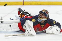 Roberto Luongo of the Florida Panthers stops a shot by Tyler Ennis of the Buffalo Sabres, one of 25 saves in a shutout performance on Friday. Panthers Team, Florida Panthers, Buffalo Sabres, Vancouver Canucks, Homecoming, Hockey, Friday, Sneakers Nike, Fan