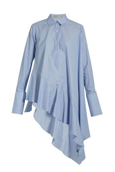 Balance the exaggerated proportions of this elegant Palmer//Harding shirt with denim and block heels or simple white trainers.Palmer//Harding Asymmetric ruffled-hem cotton shirt, £290, available at Matches Fashion #refinery29 http://www.refinery29.uk/best-shirts-asymmetric-trend-deconstructed-shirts#slide-1