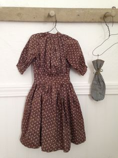 Antique Brown Calico Print Child's or Large Doll Dress | eBay