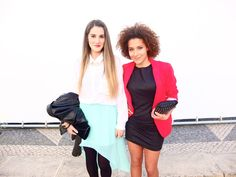 fun pops of color... a colorblock effect... love the red blazer, very Miami Vice goes to the nightclub.