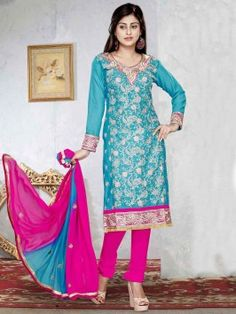 Light Blue Cotton Suit With Resham And Zari Embroidery Work