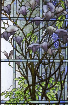 Right-hand panel detail. Tiffany Mosaics & Windows - Catalogue - Lillian Nassau LLC.   Tiffany Studios  Magnolia and Wisteria  Height: 89 3/8 inches Width: 159 inches American, circa 1905-10
