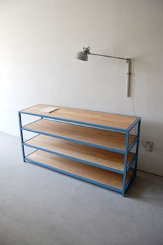 194 | 01_Resize standard furniture Atelier display shelf 2 : W1,400 D420 H722 / Solid ash oil finish / Steel hardening melamine paint