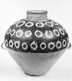 thenecromerchantsdebt:  Jar (Guan) Period: Neolithic, Majiayao culture, Banshan phase Date: ca. 2650-2350B.C. Culture: China Medium: Earthenware with painted decoration Dimensions: H - 153/4 in. (40cm); W (not including handles) - 153/8 in. (39cm) Classification: Ceramics