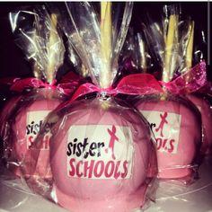Sister schools custom hard candy apples