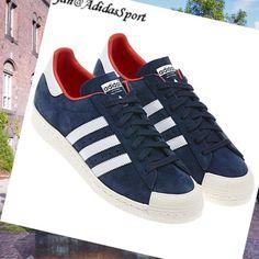 Navy Blue White Red-Adidas Originals Superstar Half-Shell Men's Suede Shoes HOT SALE! HOT PRICE!