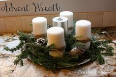 Bearcub Creations: Traditions: Advent Wreath and Printable Noel Banner Advent Candles, Pillar Candles, Advent Wreath, Tis The Season, Holiday Fun, Banner, Presents, Printables, Wreaths