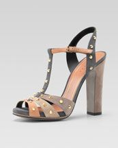 X18U0 Gucci Studded Suede Sandal