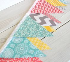 Bunting Fabric Banner Fabric Flags  - Aqua Blue, Yellow, Gray and Coral Chevron and Flowers